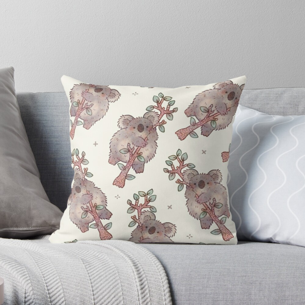 Chubby Koala on a Tree - Australian Wildlife Throw Pillow