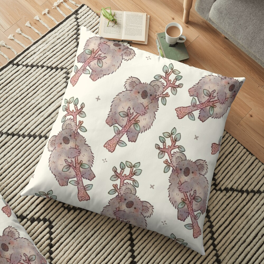 Chubby Koala on a Tree - Australian Wildlife Floor Pillow