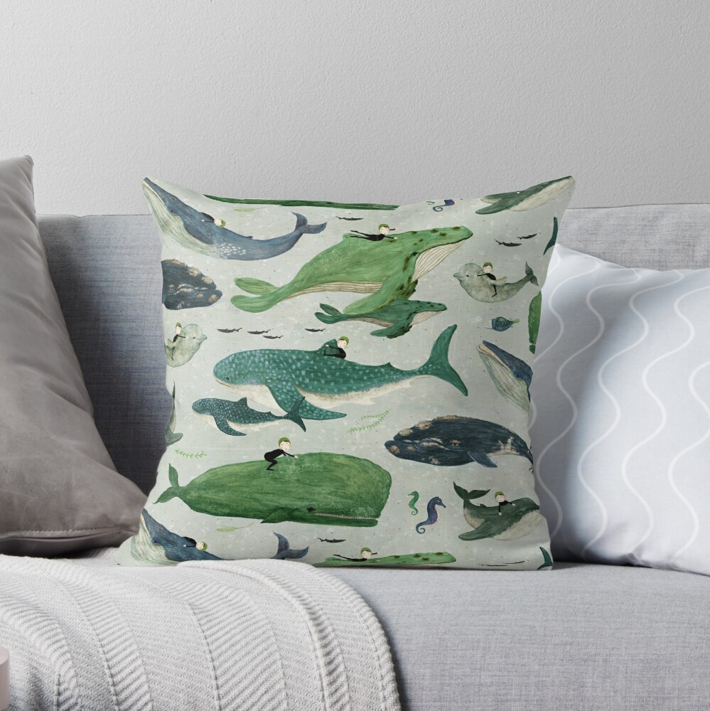 Whale rider {green and purple} Throw Pillow