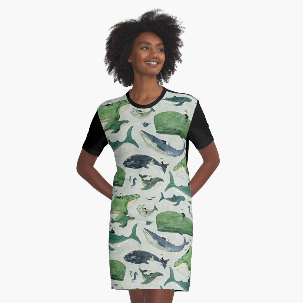 Whale rider {green and purple} Graphic T-Shirt Dress