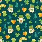 Leprechaun Birdies on Dark Green by daisy-beatrice