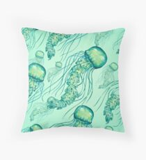 - Watercolor Jellyfish pattern - Throw Pillow