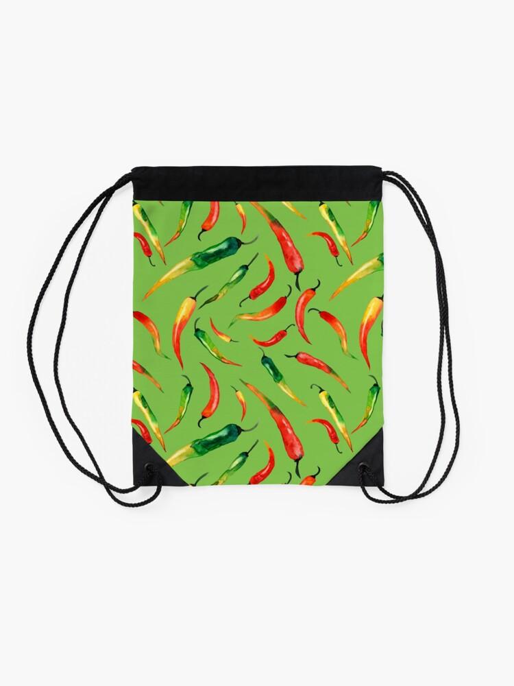Alternative Ansicht von - Chilli-Muster (grün) - Turnbeutel