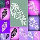 Owl prints - abstract owl art in purple and green by cathyartist