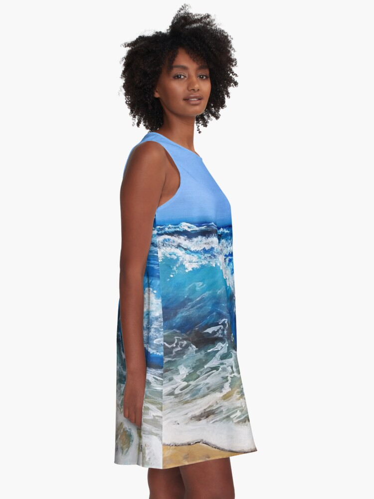 Alternate view of Rough Sea Painting A-Line Dress