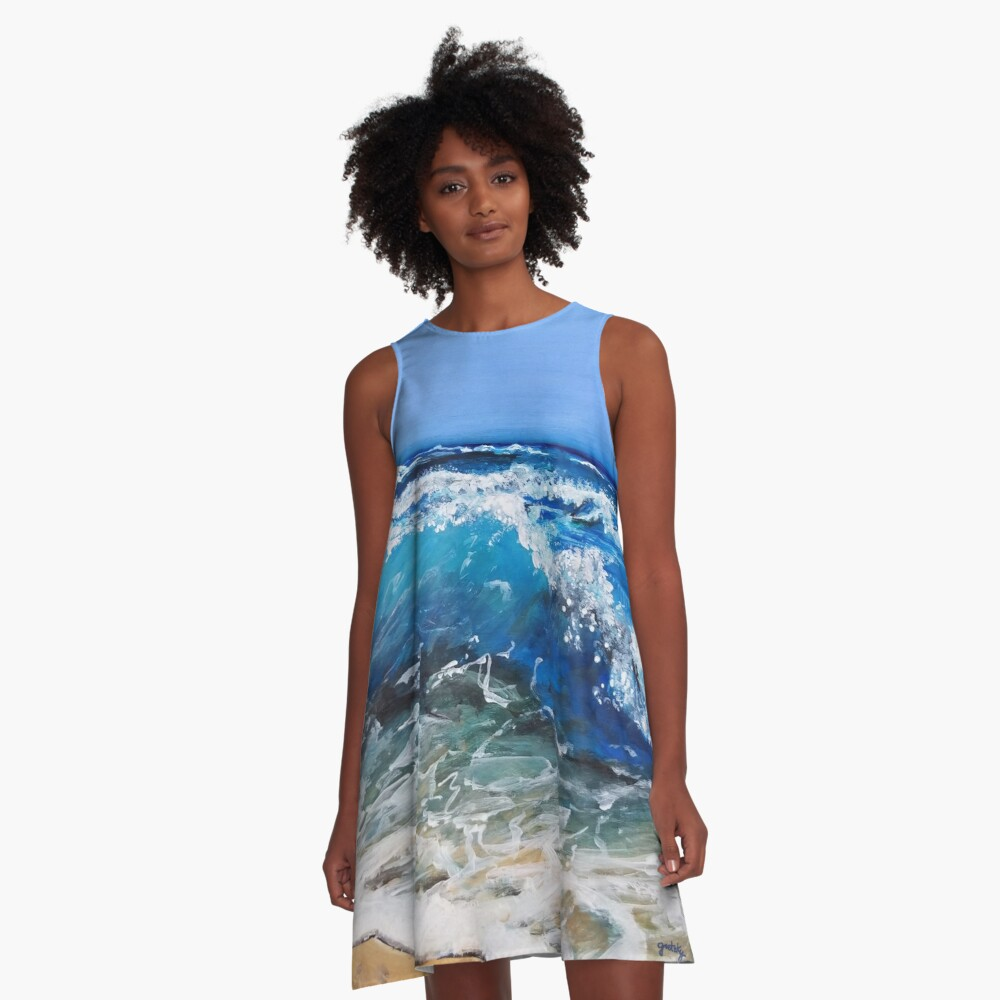 Rough Sea Painting A-Line Dress
