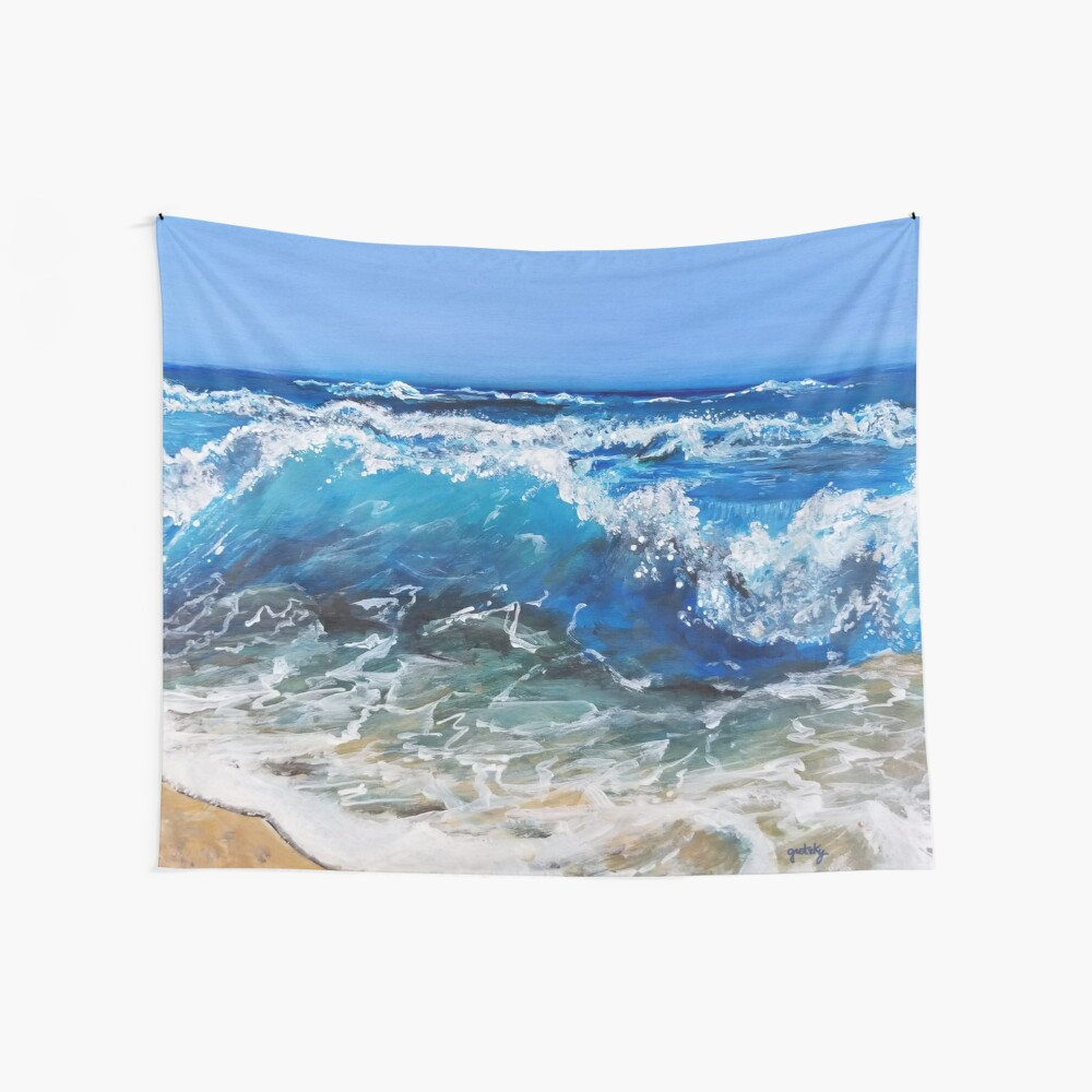 Rough Sea Painting Wall Tapestry