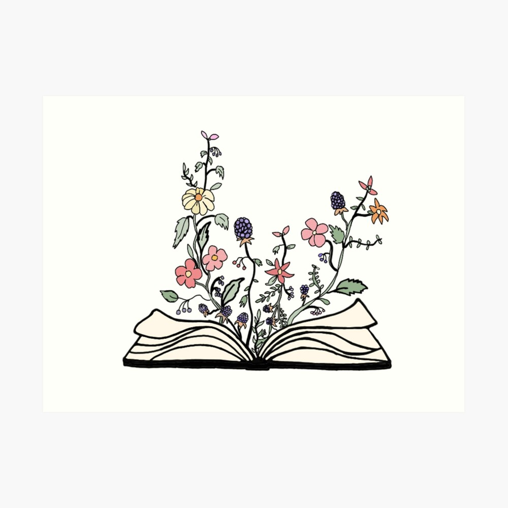 flowers growing from book  Art Print