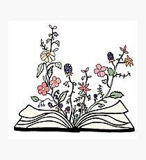 Blumen wachsen aus Buch Fotodruck