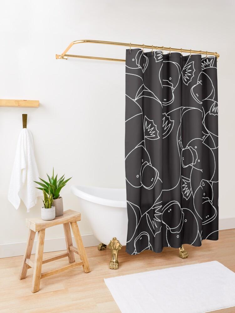 Alternate view of Minimalist Platypus Black and White Shower Curtain