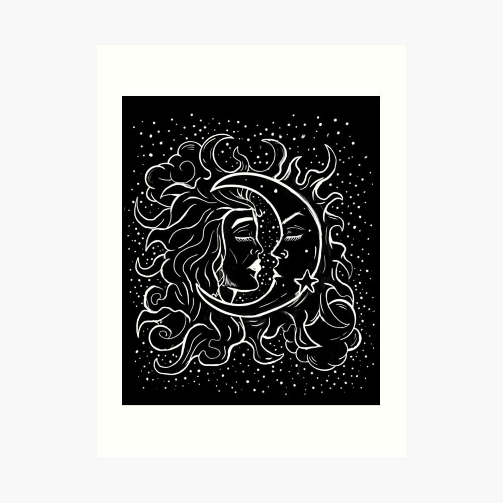 Sun & Moon Gothic Witchy Hand Drawn Design Art Print