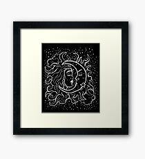 Sun & Moon Gothic Witchy Hand Drawn Design Framed Print