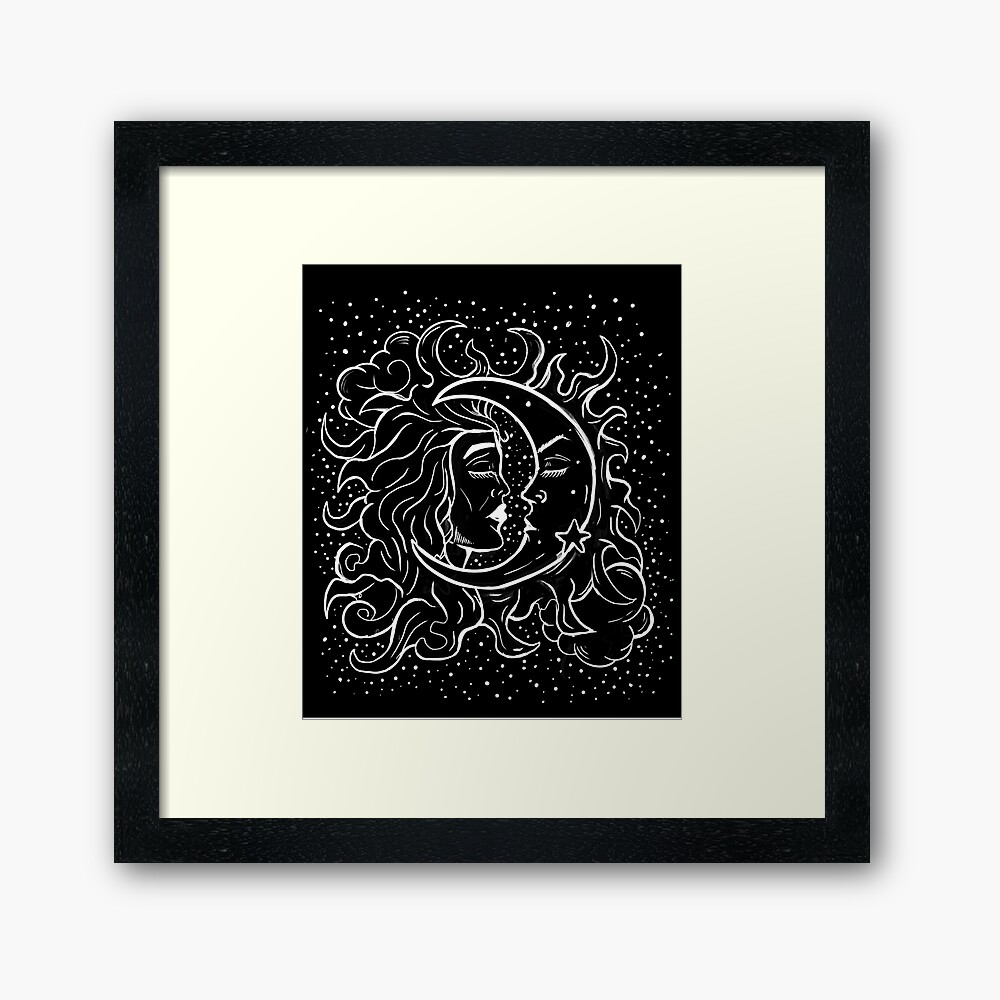 Sun & Moon Gothic Witchy Hand Drawn Design Framed Art Print