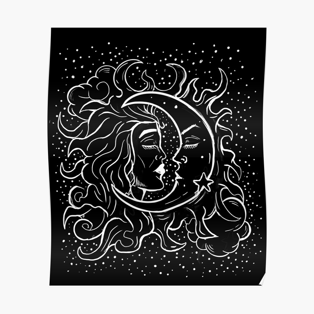 Sun & Moon Gothic Witchy Hand Drawn Design Poster