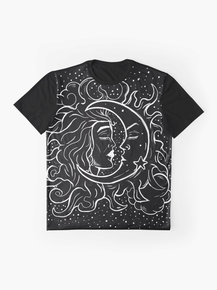 Alternate view of Sun & Moon Gothic Witchy Hand Drawn Design Graphic T-Shirt