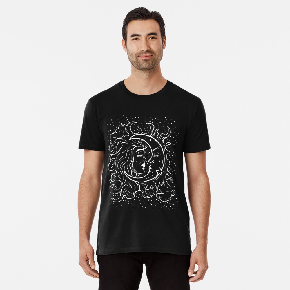 Sun & Moon Gothic Witchy Hand Drawn Design Premium T-Shirt