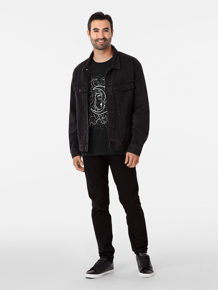 Alternate view of Sun & Moon Gothic Witchy Hand Drawn Design Premium T-Shirt