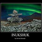 Inukshuk under the Northern Lights by Istvan Hernadi