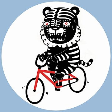 Black Tiger and Bicycle (It's hard to pedal because his legs are not long enough) by RYURAKUDO
