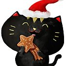 Christmas Black Cute Cat by colonelle