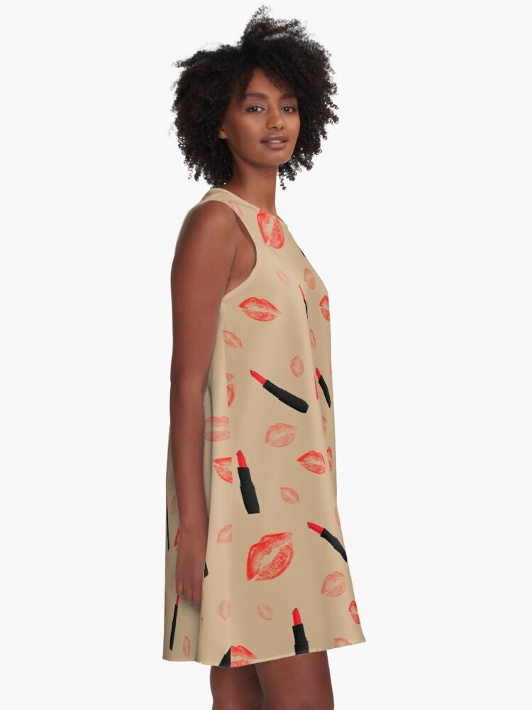 Alternate view of Red Lipstick pattern on beige A-Line Dress