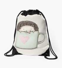 Hedgehog in a Mug Drawstring Bag