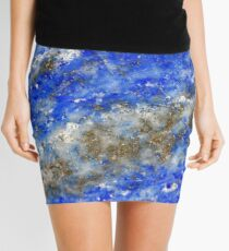 Lapis Lazuli blue and gold abstract geode texture Mini Skirt