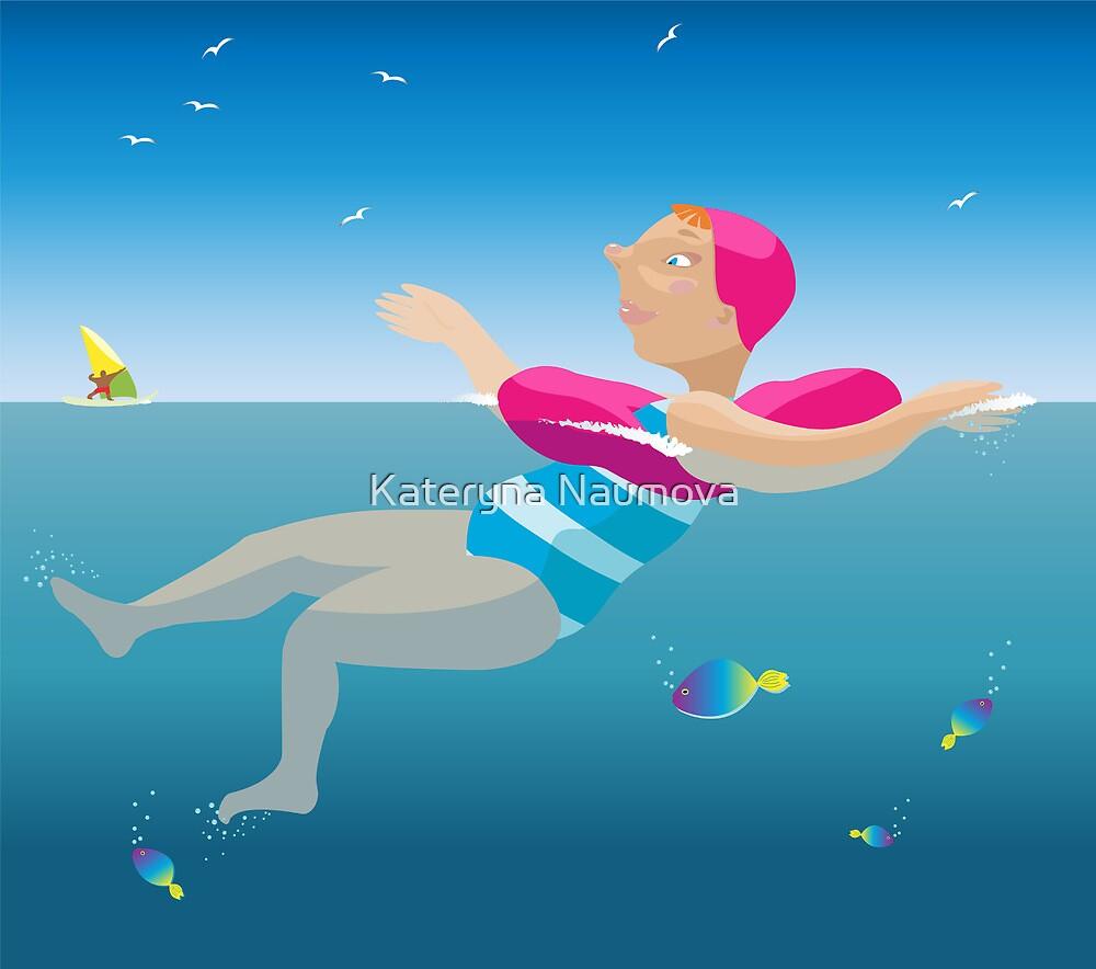 Swimming girl. by Kateryna Naumova