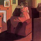 Weinlese-Felix Vallotton-Innenraum mit Paaren und Schirm (Intimität) 1898 von AllVintageArt