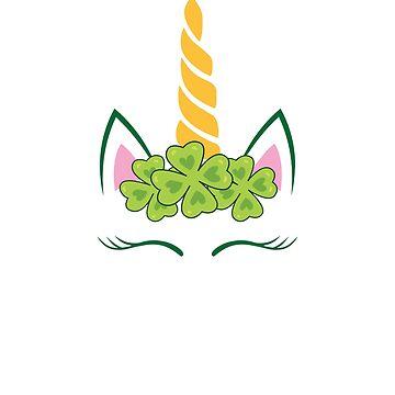 St Patrick's Day Unicorn Face Clover Kids Gift by allsortsmarket