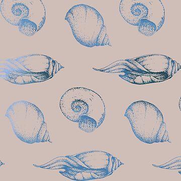 Teal beige ocean gems by peggieprints