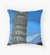 Leaning Tower of Pisa bywhacky Throw Pillow