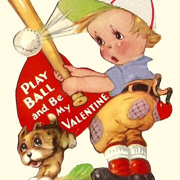 Vintage Valentine Play Ball and Be My Valentine by CafePretzel