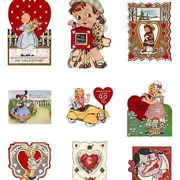 Vintage Valentines Sticker Pack for Girls by CafePretzel