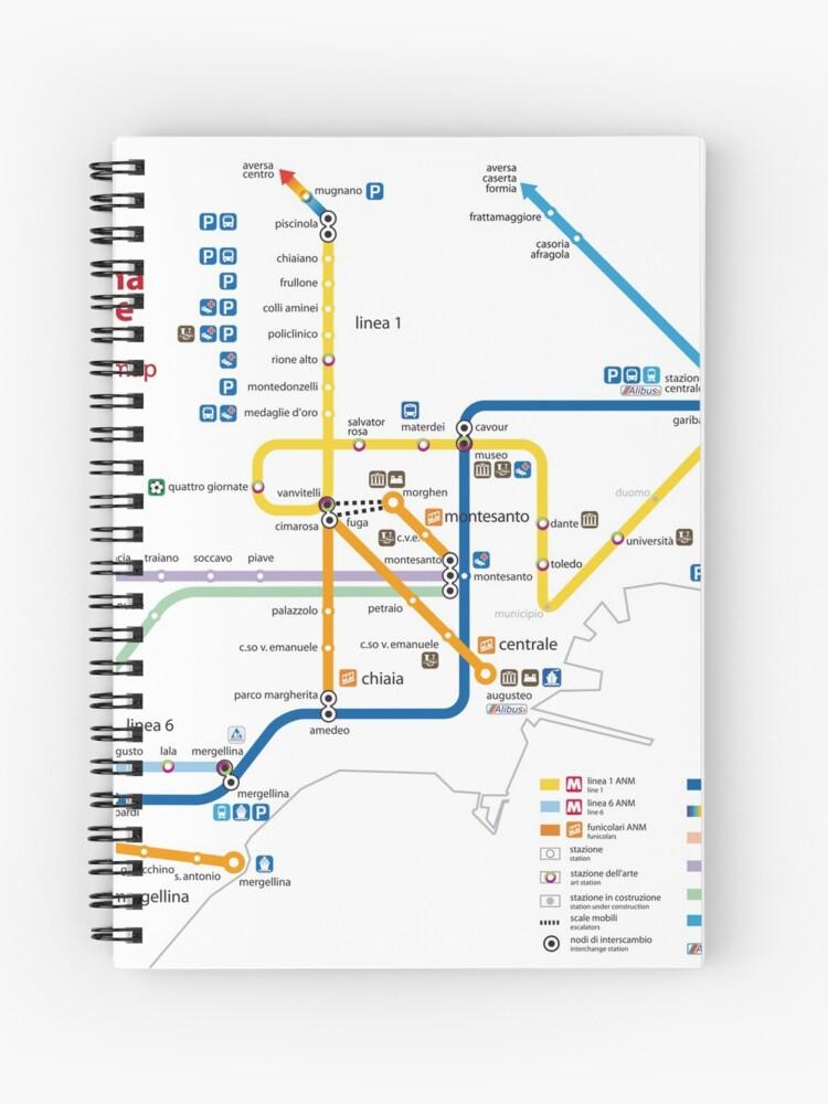 Napoli Subway Map.Napoli Metro Map Italy Hd Spiral Notebook