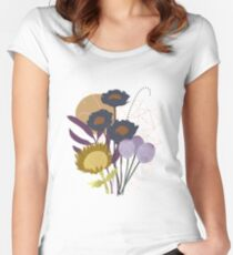 Autumnal Botanical Print Fitted Scoop T-Shirt