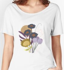 Autumnal Botanical Print Relaxed Fit T-Shirt