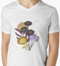 Autumnal Botanical Print V-Neck T-Shirt