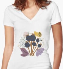 Fall Seed Pod Bouquet Fitted V-Neck T-Shirt