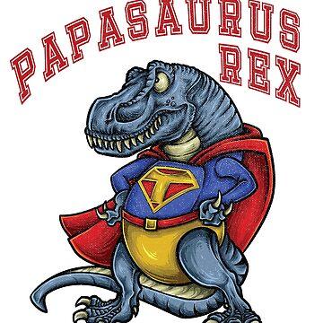 Grunge Style Super Dino - Papa Saurus Rex Shirt Father's Day T-Shirt by LuckyU-Design