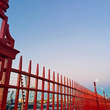 Red Fence Moon by urbanfragments