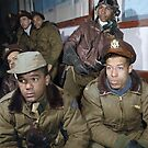 Tuskegee airmen attending a briefing in Ramitelli, Italy, March 1945 by Marina Amaral