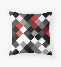 Bold Block Black White Red Diagonal Pattern Throw Pillow