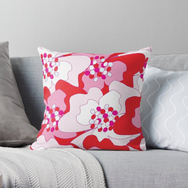 Red Passion Flowers Throw Pillow