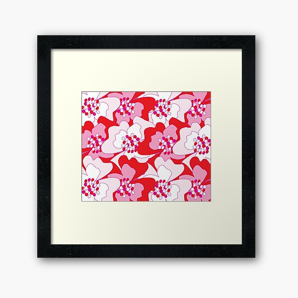 Red Passion Flowers Framed Art Print