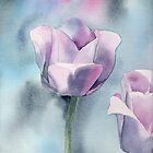 Watercolor Tulip Fine Art Painting2 by Sandra Connelly