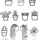 Cacti and Succulent Black and White Pattern by faydixondesign