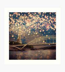Lámina artística Love Wish Lanterns en París