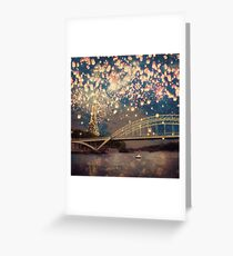 Love Wish Lanterns over Paris Greeting Card