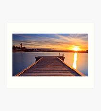 Sunset over the jetty Art Print